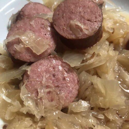 Crockpot Kielbasa and Sauerkraut