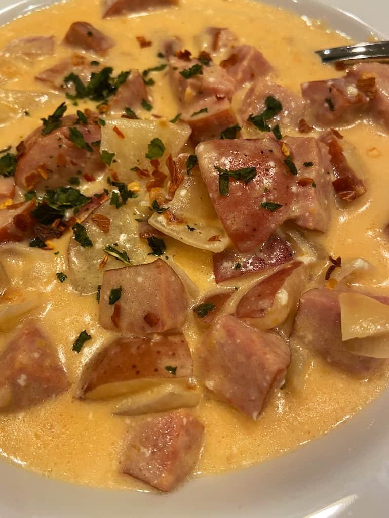 Cheesy Potato Kielbasa Soup